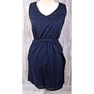 Gap XS Navy Sleeveless Tank Dress Sparkles Midi